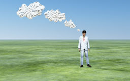 Man with 3D white thought clouds. With text Stock Image