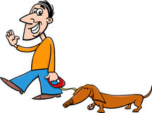 Man with dachshund cartoon Stock Image