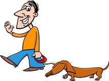 Man with dachshund cartoon Stock Image