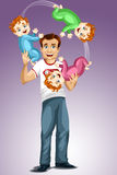 Man dad baby triplets juggles character cartoon style  Royalty Free Stock Images