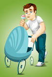Man dad stroller character cartoon style  illustration Stock Photography