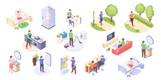 Free Man Daily Life Home Routine Activity, Isometric Stock Photos - 182322853