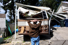 Man and damaged rv Stock Image