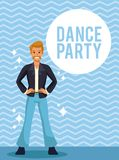 Dance party card. Man dance party cartoon over striped background vector illustration graphic design stock illustration