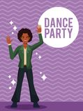 Dance party card. Man dance party cartoon over striped background vector illustration graphic design vector illustration