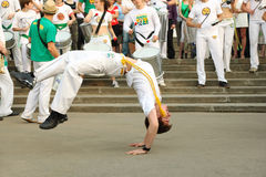 Man dance on real capoeira performance Royalty Free Stock Images