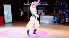 Man dancing during Belly Lady Festival, Kiev, Ukraine, stock video footage