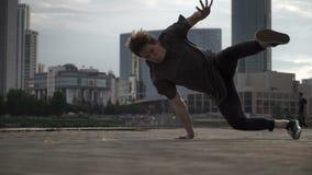 Cool man dancing breakdance stock video