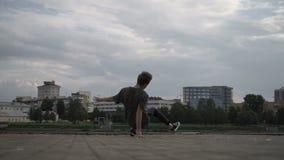 Cool man dancing breakdance stock footage