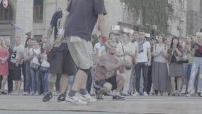 Man dancing breakdance on the street. Slow motion. Kyiv. Ukraine stock footage
