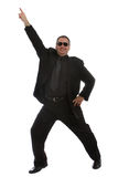 Man dancing at the club. Man in black suit dancing at the club stock images