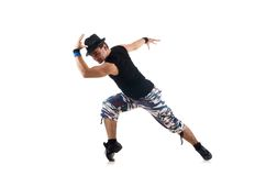 Man dancing dances isolated on the white Stock Photography