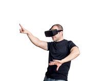Man dancing and having fun with virtual reality headset. Royalty Free Stock Images