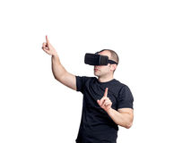 Man dancing and having fun with virtual reality headset. Stock Images