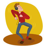 Man dancing in headphones vector illustration Stock Photography