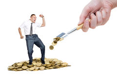 Man dancing on the heap of money Royalty Free Stock Images