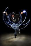 Man Dancing With Light Painting Royalty Free Stock Photos