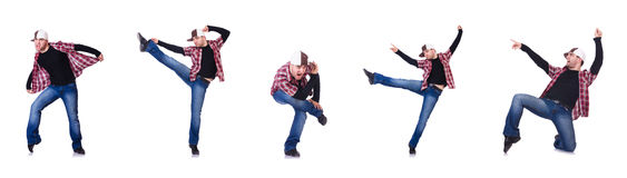 The man dancing modern dances on white Stock Photos