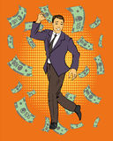Man dancing with money flying around. Vector illustration in retro comic pop art style.  Stock Photos