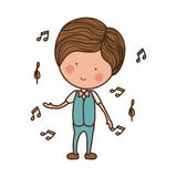 Man dancing with musical notes Stock Photography