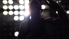Man dancing at the party wearing neon led glasses stock video footage