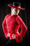 The man dancing spanish dance in red clothing Stock Photography