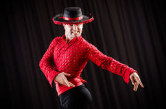 The man dancing spanish dance in red clothing Royalty Free Stock Images