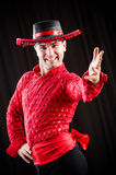 The man dancing spanish dance in red clothing Royalty Free Stock Image