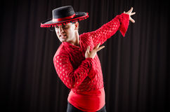 The man dancing spanish dance in red clothing Royalty Free Stock Photos