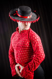 The man dancing spanish dance in red clothing Royalty Free Stock Photography