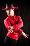 The man dancing spanish dance in red clothing Stock Image
