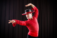 The man dancing spanish dance in red clothing Royalty Free Stock Photo