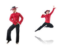 The man dancing spanish dances on white Stock Photography