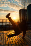 Man dancing on terrace Stock Image