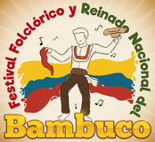 Man Dancing Traditional Colombian Bambuco for Folkloric Festival, Vector Illustration Royalty Free Stock Images