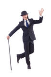 Man dancing with walking stick Stock Images