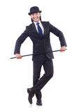Man dancing with walking stick Royalty Free Stock Photos