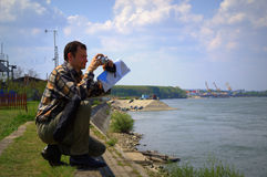 Man at Danube river shore Royalty Free Stock Images