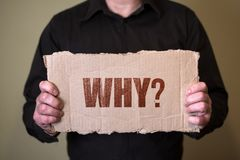 A man in a dark shirt holding a piece of cardboard with text royalty free stock images
