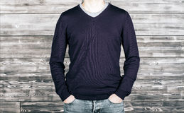 Man with dark shirt and jeans Stock Photography