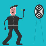 Man with dart plays in Darts. Man with arrow on the blue background.Flat design sport concept.Illustration for darts tournament. Man throws a dart in the Stock Illustration