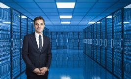 Man in data center stock photography