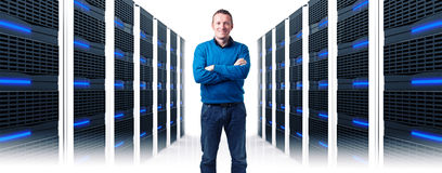 Man in datacenter Royalty Free Stock Photos