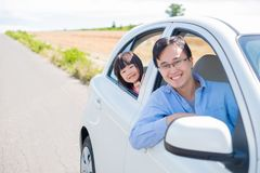 Man drive car in Furano. Man with daughter drive car in Furano Royalty Free Stock Photo