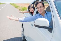 Man drive car in Furano. Man with daughter drive car in Furano Royalty Free Stock Image