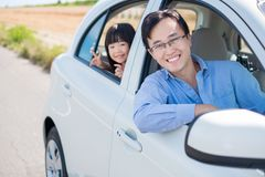 Man drive car in Furano. Man with daughter drive car in Furano Royalty Free Stock Images