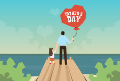 Man And Daughter Hold Balloon Father Day Holiday Standing on Wooden Dock Royalty Free Stock Photo