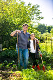 Man and daughter spudding lettuce garden bed at hot summer day Royalty Free Stock Photos