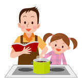 Man and daughter to cook Stock Photography