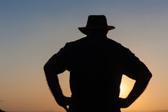 Man Body Outline Sunset Silhouette. Man body outline against sunset silhouette Stock Photo